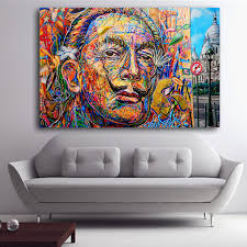 salvador dali abstract portrait oil painting street art spray paintings canvas prints for living room decor