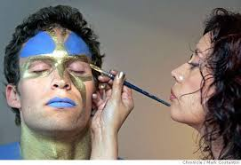 tenes paints details on jeff s face face painter diana tenes who lives in walnut creek