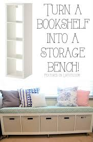 turn an ikea expedit shelving unit into a storage bench