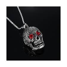 fashion men s jewelry titanium steel chain red eye skull pendant necklace for men