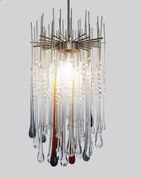 stunning murano chandelier ceiling light with extra long glass tear drops 1960s hover to zoom
