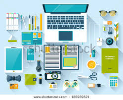 designer office desk isolated objects top view. flat design modern vector illustration concept of creative office workspace workplace top view designer desk isolated objects g