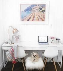 closet to office. home office decorating ideas double desk framed beach art closet to
