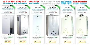 Tankless Water Heater Size Chart Electric Tankless Water Heater Comparison Chart Eventize Co
