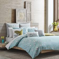 erflies motive soft blue organic cotton bed sheets natural wooden bedroom beautiful decorative yellow flower gray