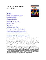 Psychodynamic Approach The Psychodynamic Approach