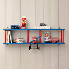 Kids Bedroom Shelving Bi Plane Wall Shelf Bookcases Bookshelves Childrens