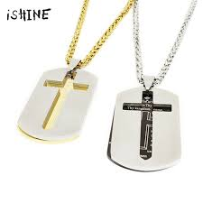 collare lords prayer cross snless steel army necklaces pendants gold whole jewelry dog for men