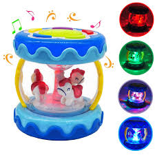 markkeer baby al toy carousel drum activity center with lights sounds and early educational toys for infants and toddlers aged 6 months to