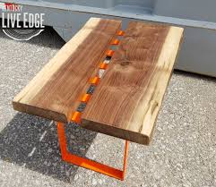 natural edge furniture. Live Edge Coffee Table- Orange- Dark Brown- Modern Cool Furniture- Colorful Handmade- Contemporary Design- Living Room Natural Furniture L