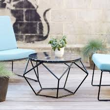 black round contemporary unique marble top and metal legs outdoor round coffee table designs for patio
