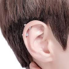 1 Pair Silvergold Stud Earrings For Womenmen Zircon Ear Piercing