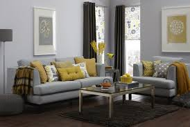 home design gray couch living room sectional sofas plus yellow cuhsion and fabric with rectangular glass