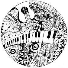 Anti Stress Kleurplaten Muziek Keyboard En Gitaar 9