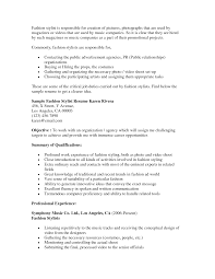 Gallery Of Fashion Stylist Resume Objective Fashion Resume
