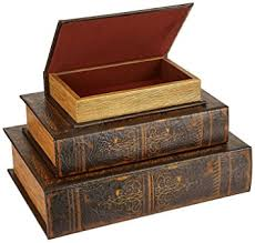 imax old world book box collection set of 3 brown amazon ca home kitchen