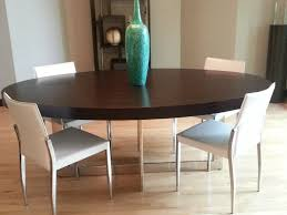 Contemporary Large Oval Dark Wood Dining Table With Stainless - Dark wood dining room tables