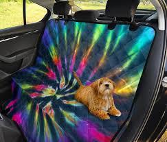 colorful neon tie dye car back seat pet