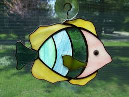 details about handmade stained glass tropical fish suncatcher fv39