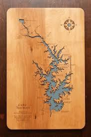 Lake Norman North Carolina Wooden Laser Engraved Lake Map By