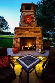 outdoor fireplace installation in denver landscape connection custom landscape fire features