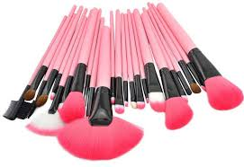professional 24 pieces makeup brush gift set kit with pu leather pouch pink