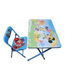 Happy Kids Foldable Study Table And Chair - Mickey Mouse (blue)