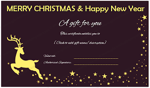 christmas gift card templates christmas and new year gift certificate reindeer design