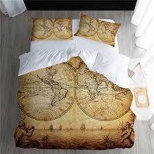 Vintage <b>Map Luxury</b> Home <b>Bedding Set</b> Fashion Cotton Comforter ...