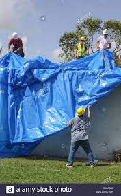 sebring fla a roofing crew spreads out fiberreinforced plastic sheeting before installing it on a residential roof in sebring florida oct 1 sebring fl d60