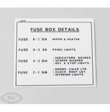 j r wadhams fuse box details label