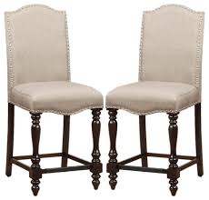 dining chairs bar stools. counter height dining chairs linen-like upholstered nailhead trim, set of 2 traditional- bar stools o