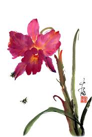 chinese painting flower orchid bees