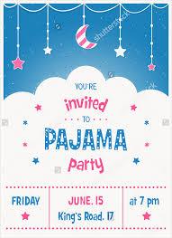pajama sleepover kids party invitation card