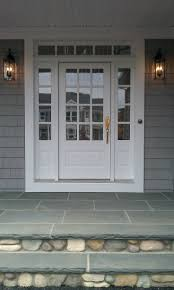 transome and sidelites with wood 3 4 french front door painted white bluestone and