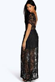 Boohoo Black Boutique Arabella Open Back Lace Maxi Dress Lyst