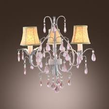 3 light white finished curved arms romantic pink crystal droplets mini chandelier