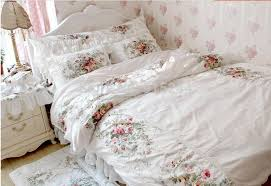 white small oil painting flower bed set full queen king twin size whole cotton 4pcs duvetsets quilt cushion shams bed skirt