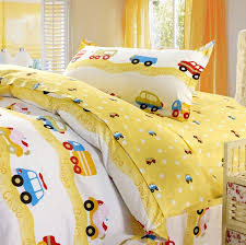 transportation cars trucks boys bedding twin duvet cover set yellow red blue