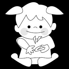 爪切りをする女の子のかわいいイラスト画像素材白黒 モノクロ