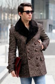 how to wear dark brown fur collar coat brown crew neck sweater