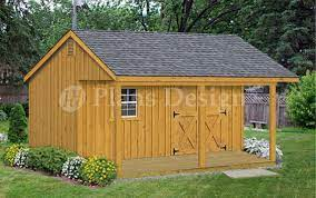 16 gable shed with covered porch plans