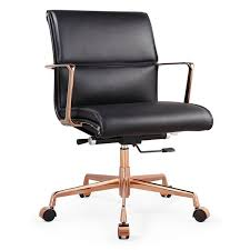 carnegie office chair luxe black rose gold italian leather