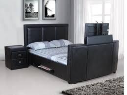 Tv bed frame leather double, king, super, black, brown ...
