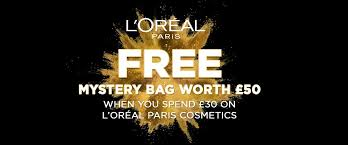 free mystery bag when you spend 30 on selected loreal paris cosmetics