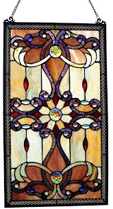 1 of 4only 1 available stained glass window panel tiffany style hanging wall home art decor