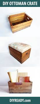 check out diy storage ottoman turn a vintage wooden crate into a storage ottoman at