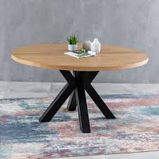 metro industrial oak large 1 5m round starburst dining table 6 seat the furniture market