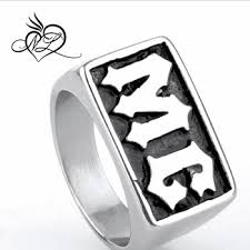whole china alibaba hot selling men s snless steel initial letter mc biker ring