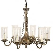 empire edwardian 6 light antique brass chandelier with storm glass shades